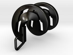 Headphones Spiral Pendant in Matte Black Steel