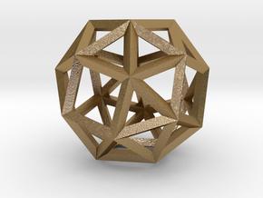 Snub Cube(Leonardo-style model) in Polished Gold Steel