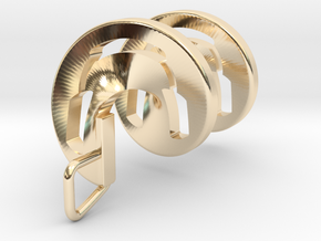Headphones Spiral Pendant in 14k Gold Plated Brass