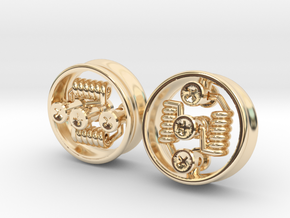 "NEW 1"" RDA PLUGS PAIR - CHEAPEST OPTION! in 14K Yellow Gold"