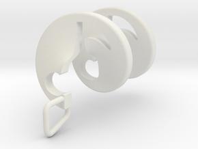 Quaver Note Spiral in White Natural Versatile Plastic