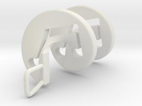Beam Note Spiral Pendant in White Natural Versatile Plastic