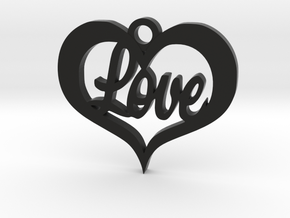 Love Heart  in Black Natural Versatile Plastic