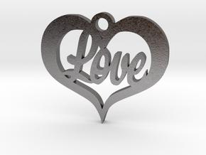 Love Heart  in Polished Nickel Steel