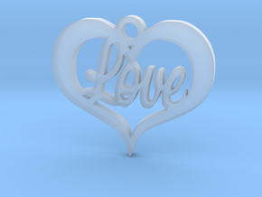 Love Heart  in Smooth Fine Detail Plastic