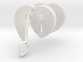 Heart Cross Spiral Pendant in White Natural Versatile Plastic