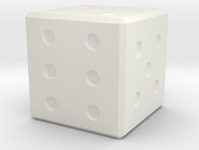 6 Sided Dice in White Natural Versatile Plastic
