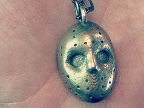 Jason Voorhees Friday the Thirteenth Hockey Mask P in Polished Bronzed Silver Steel