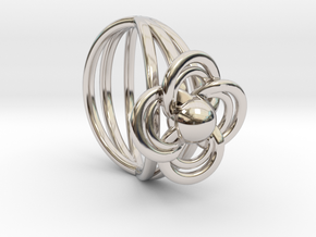 FlowerRing Size 53 in Rhodium Plated Brass