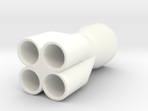 1/10 Scale Exhaust Tip (Step Header) in White Processed Versatile Plastic