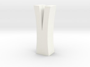 Split Log Vase in White Processed Versatile Plastic