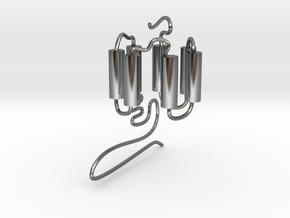 GPCR(3D) in Fine Detail Polished Silver