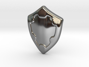 Shield in Fine Detail Polished Silver