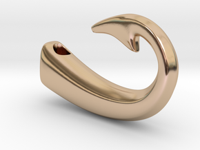 Fishing Hook Pendant  in 14k Rose Gold Plated Brass