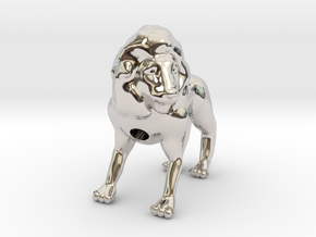 Lion in Rhodium Plated Brass