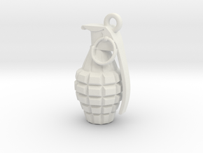 Grenade pendant in White Strong & Flexible