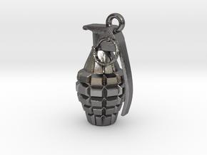 Grenade pendant in Polished Nickel Steel
