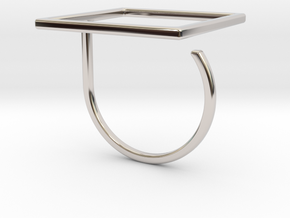 Square ring shape. in Rhodium Plated Brass