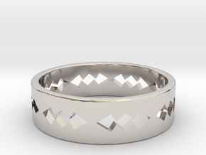 Jagged Ring Size 5 in Rhodium Plated Brass