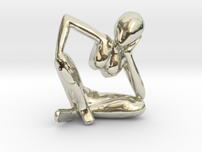 Small African Sculpture in 14k White Gold