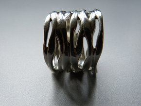 BASHIBA RAW WAVES  (16.5 mm) in Polished Bronzed Silver Steel