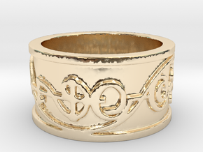 """IDIC"" Vulcan Script Ring - Embossed Style in 14k Gold Plated Brass: 5 / 49"