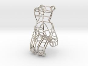 Bear Bottle Opener Keychain  in Rhodium Plated Brass