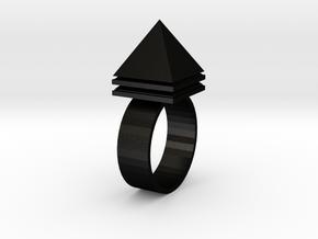 Pyramid Ring in Matte Black Steel