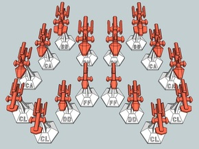 MicroFleet Kzouti  Heavy Battlegroup (16 Pcs) in Smooth Fine Detail Plastic
