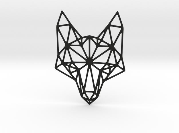 Geometric Fox Head Pendant in Black Strong & Flexible
