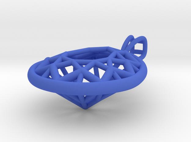3D Printed Diamond Pear Drop Pendant  in Blue Processed Versatile Plastic
