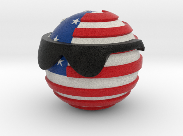 Countryballs USA with glasses in Full Color Sandstone
