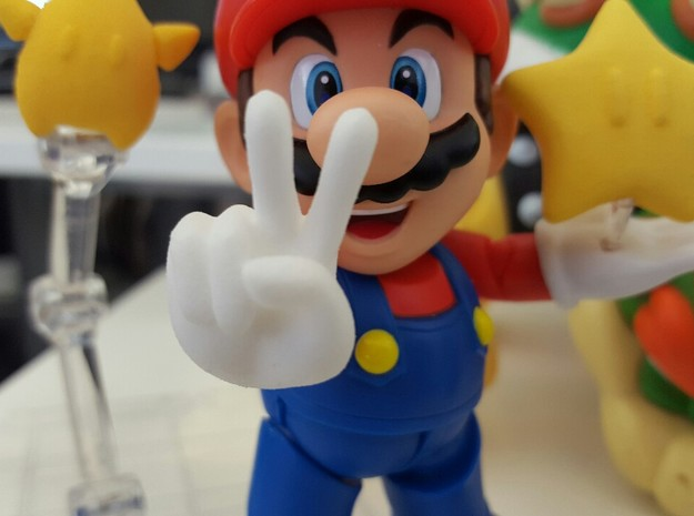 Victory (Bent) Hands for S.H. Figuarts Mario / Lui in White Processed Versatile Plastic