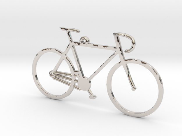 Racing Bicycle in Rhodium Plated Brass