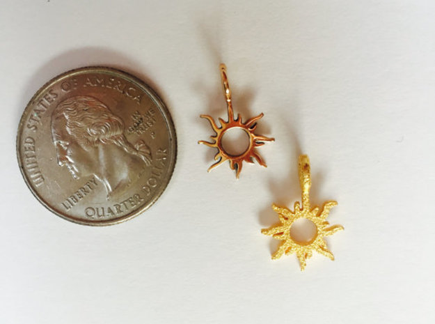 Happiness - Sun Pendant in 14k Gold Plated Brass