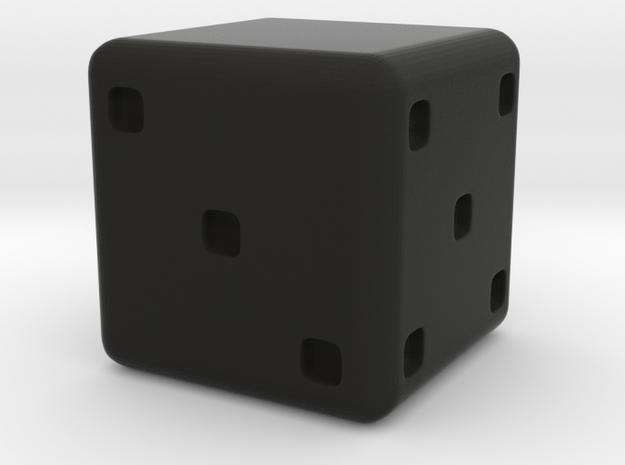 Personalizable D6 in Black Natural Versatile Plastic