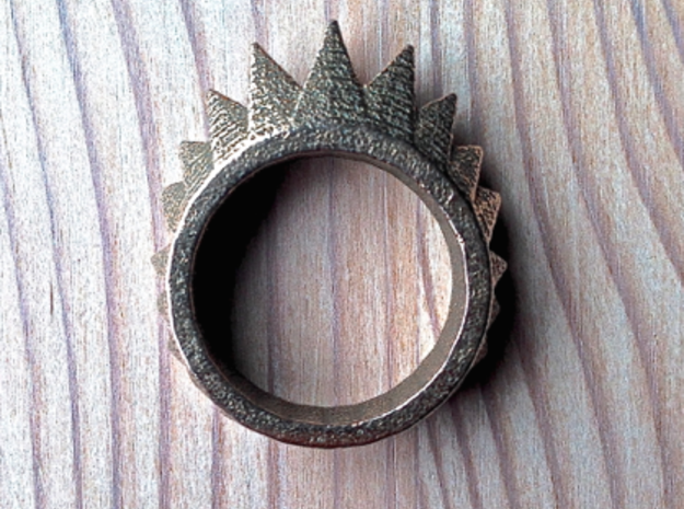 """Nonderso"" Ring - Size Large in Polished Bronzed Silver Steel"