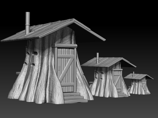 Stump Shack - HO Scale in White Strong & Flexible