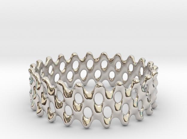 Lattice Ring No.1 in Rhodium Plated Brass