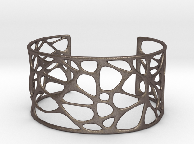 Bracelet abstract #4 in Polished Bronzed Silver Steel