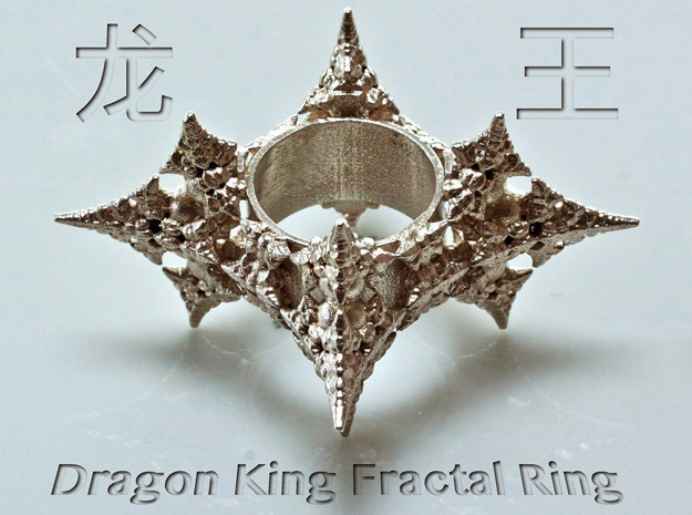 Dragon Fractal Ring 21mm 3d printed Raw Sterling silver