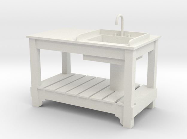 1:24 Sink Table1 (NOT FULL SIZE) in White Natural Versatile Plastic