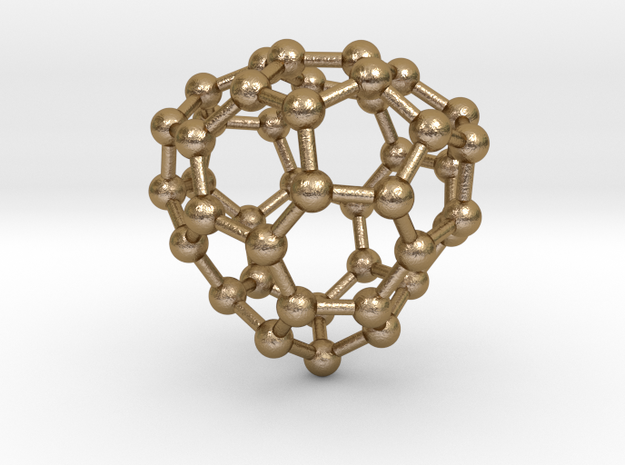 0255 Fullerene C42-34 c1 in Polished Gold Steel
