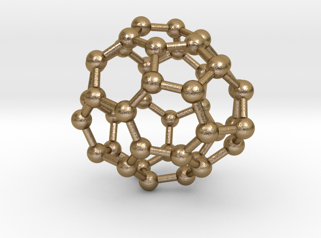 0257 Fullerene C42-36 c1 in Polished Gold Steel