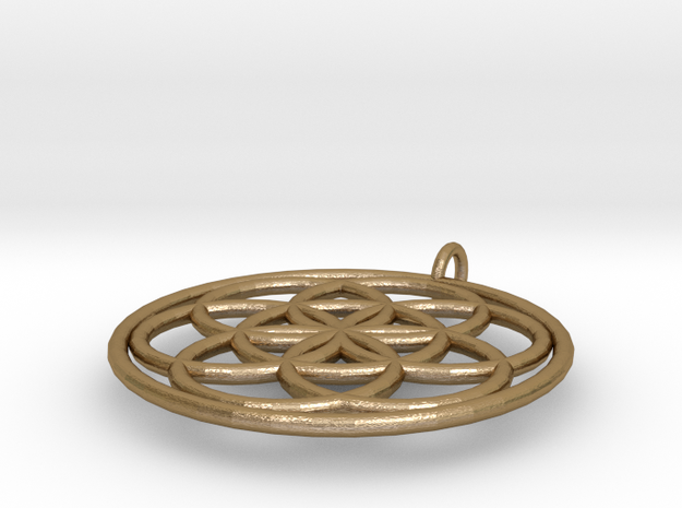 PendantCircles6 in Polished Gold Steel