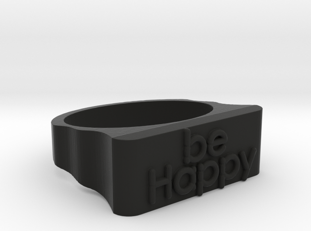 Be Happy Ring size 18mm in Black Natural Versatile Plastic