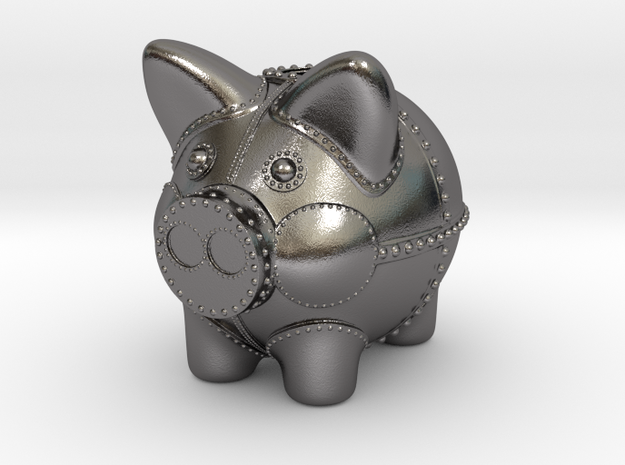 Steampunk Piggy Bank 6 inch tall in Polished Nickel Steel