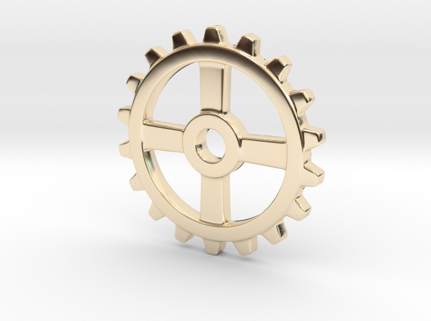 One and a half Inch Four Normal Spoke Gear in 14K Yellow Gold