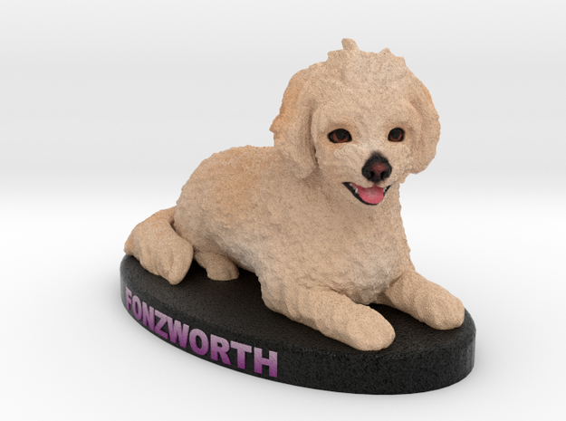 Custom Dog Figurine - Fonzworth in Full Color Sandstone