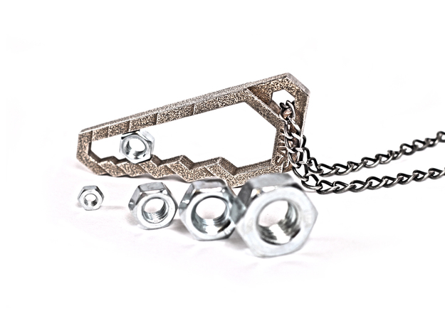 Saw wrench -keychain/necklace/gadget in Polished Bronzed Silver Steel